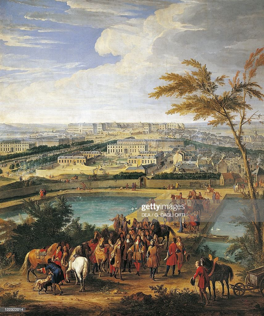 Jean Baptiste Martin Louis XIV with François Michel Louvois Jules Hardouin Mansart and André Le Notre attends to the water arrive from the Marly...