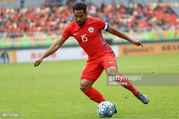 Jean Beausejour of Chile competes for the ball during the final match of 2017 Gree China Cup International Football Championship between Chile and...