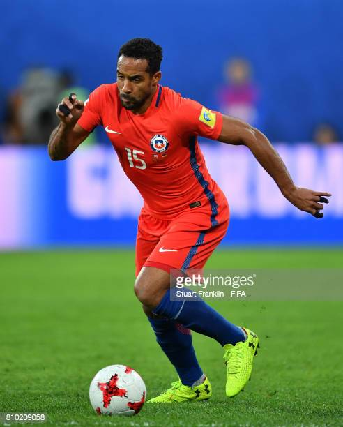 Jean Beausejour of Chile in action during the FIFA Confederations Cup Russia 2017 Final match between Chile and Germany at Saint Petersburg Stadium...