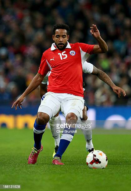 Jean Beausejour of Chile in action during the international friendly match between England and Chile at Wembley Stadium on November 15 2013 in London...