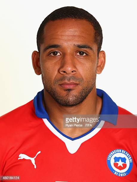 Jean Beausejour of Chile poses during the official FIFA World Cup 2014 portrait session on June 6 2014 in Belo Horizonte Brazil