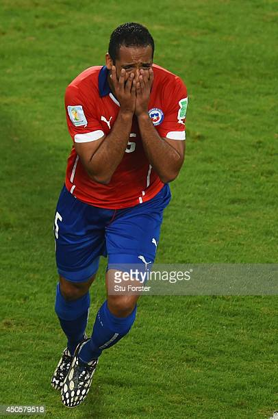 Jean Beausejour of Chile reacts after scoring his team's third goal during the 2014 FIFA World Cup Brazil Group B match between Chile and Australia...