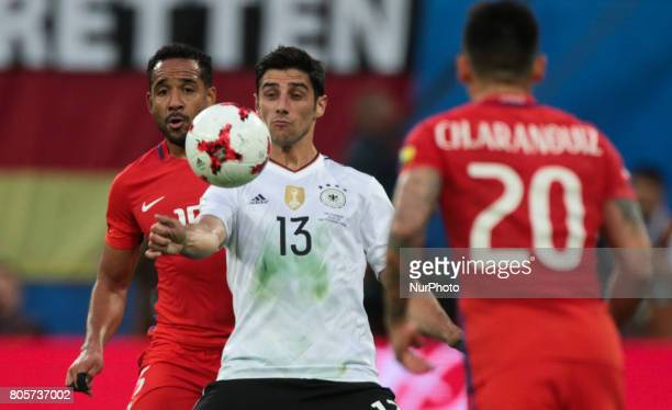 Jean Beausejour of the Chile national football team and Lars Stindl of the Germanyl national football team vie for the ball during the 2017 FIFA...