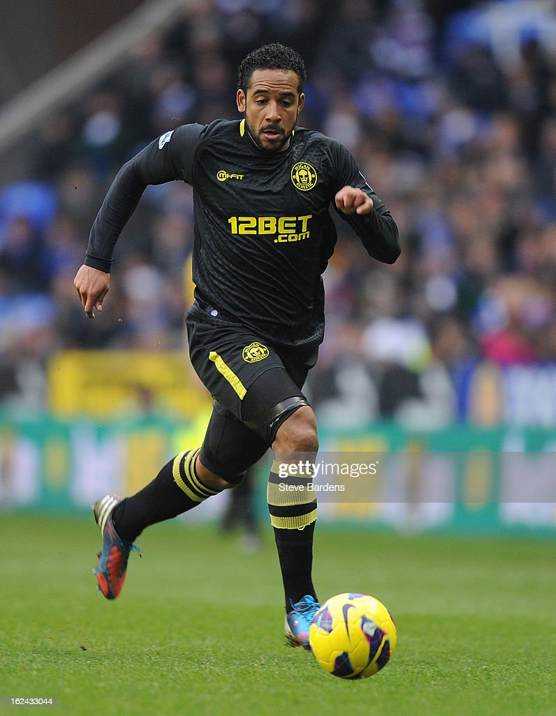 <a gi-track='captionPersonalityLinkClicked' href=/galleries/search?phrase=Jean+Beausejour&family=editorial&specificpeople=4451501 ng-click='$event.stopPropagation()'>Jean Beausejour</a> of Wigan Athletic in action during the Barclays Premier League match between Reading and Wigan Athletic at Madejski Stadium on February 23, 2013 in Reading, England.