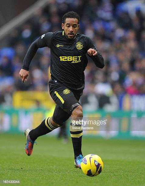Jean Beausejour of Wigan Athletic in action during the Barclays Premier League match between Reading and Wigan Athletic at Madejski Stadium on...