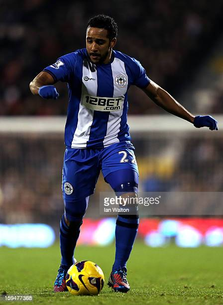 Jean Beausejour of Wigan controls the ball during the Barclays Premier League match between Fulham and Wigan Athletic at Craven Cottage on January 12...