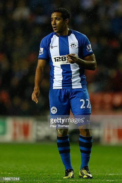 Jean Beausejour of Wigan watches on during the Barclays Premier League match between Wigan Athletic and Reading at the DW Stadium on November 24 2012...