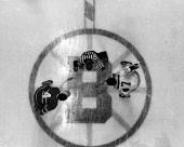 Jean Beliveau of the Montreal Canadiens faces off against Phil Esposito of the Boston Bruins during their game circa 1968 at the Boston Garden in...