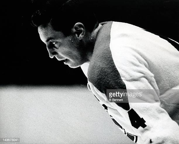 Jean Beliveau of the Montreal Canadiens waits on the ice during an NHL game against the New York Rangers on October 24 1965 at the Madison Square...
