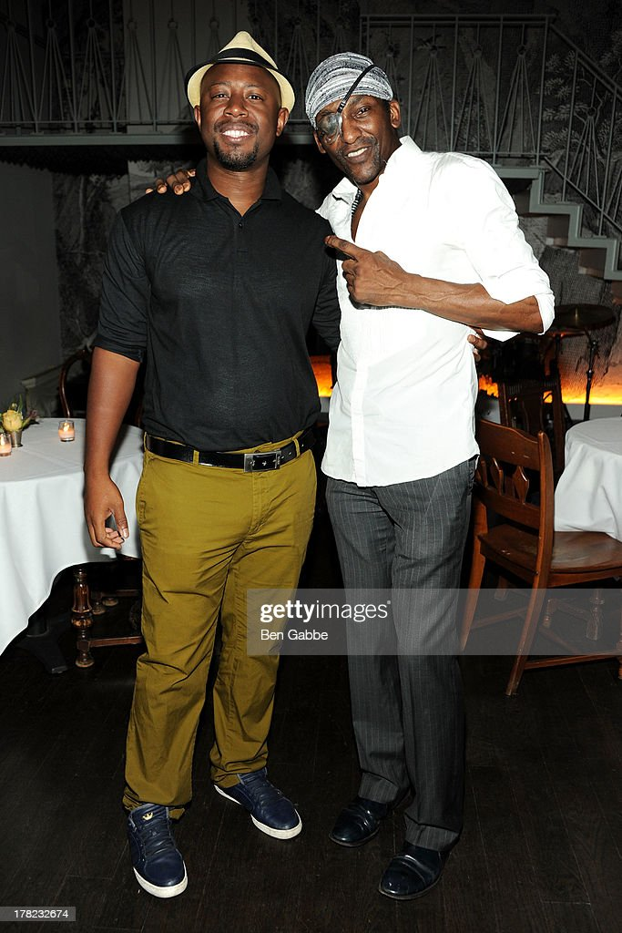 Jean Borgella (L) and Michael Olajida, Jr. attend the 'Puncher's Mark' Indiegogo Fundraiser Kick Off at Duane Park on August 27, 2013 in New York City.