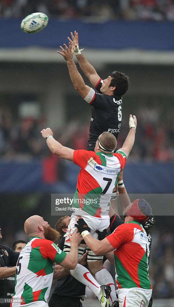 <a gi-track='captionPersonalityLinkClicked' href=/galleries/search?phrase=Jean+Bouilhou&family=editorial&specificpeople=572048 ng-click='$event.stopPropagation()'>Jean Bouilhou</a> of Toulouse catches the ball during the Heineken Cup quarter final match between Biarritz Olympic and Toulouse at Estadio Anoeta on April 10, 2011 in San Sebastian, Spain.