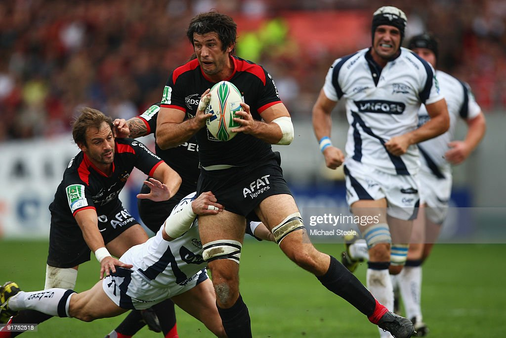 <a gi-track='captionPersonalityLinkClicked' href=/galleries/search?phrase=Jean+Bouilhou&family=editorial&specificpeople=572048 ng-click='$event.stopPropagation()'>Jean Bouilhou</a> of Toulouse during the Heineken Cup Pool Five match between Toulouse and Sale Sharks at the Stade Municipial on October 11, 2009 in Toulouse, France.