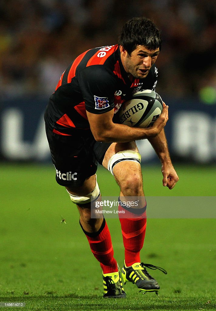 Jean Boulihou of Toulouse in action during the French Top 14 Semi Final match between Toulouse and Castres Olympique at Stade de Toulouse on June 2, 2012 in Toulouse, France.