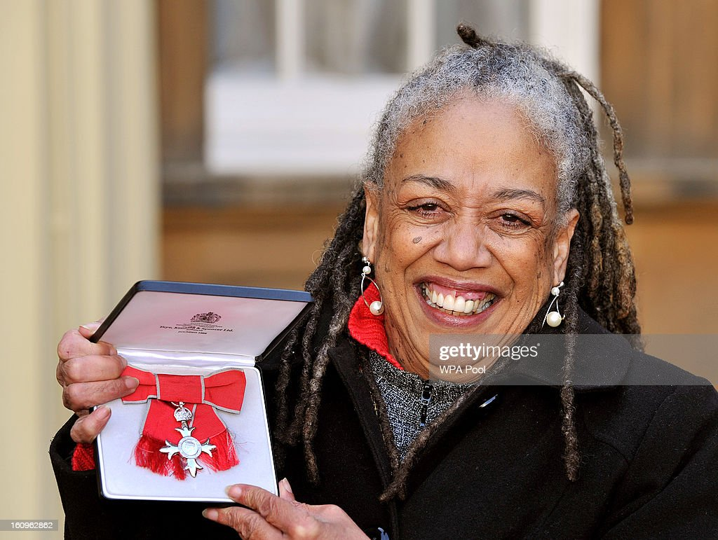 Jean Breeze the Jamaican Poet proudly holds her MBE (Member of the British Empire), after it was presented to her by the Prince of Wales at an Investiture Ceremony, in Buckingham Palace on February 8, 2013 in London, England.