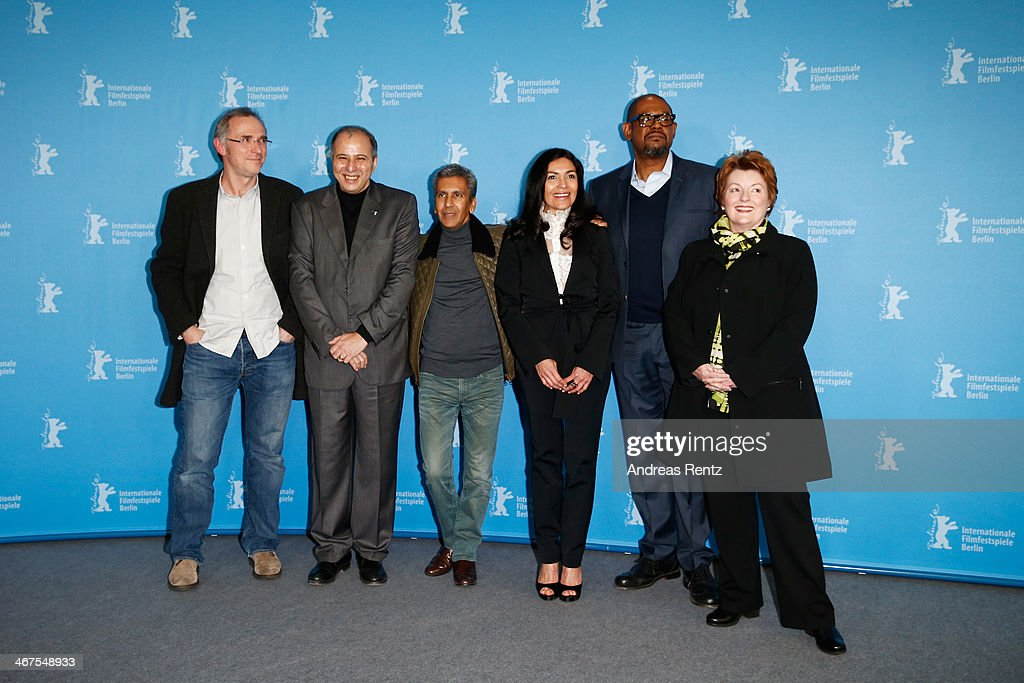 Jean Brehat, Mustapha Orif, Rachid Bouchareb, Dolores Heredia and Brenda Blethyn attend the 'Two Men in Town' (La voie de l'ennemi) photocall during 64th Berlinale International Film Festival at Grand Hyatt Hotel on February 7, 2014 in Berlin, Germany.