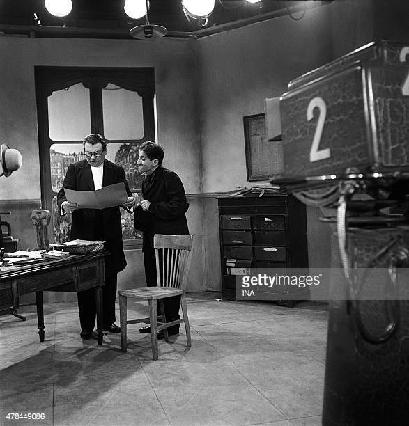 Jean Brochard and Louis de Funes interpret live in the television ''the police captain is goodnatured'' Georges Courteline's play adapted by Claude...