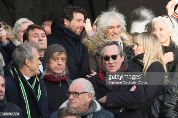 Jean Charles de Castelbajac Jean Louis Aubert Patrick Bruel Louis Bertignac and Philippe Lavil are seen during Johnny Hallyday's Funeral at Eglise De...