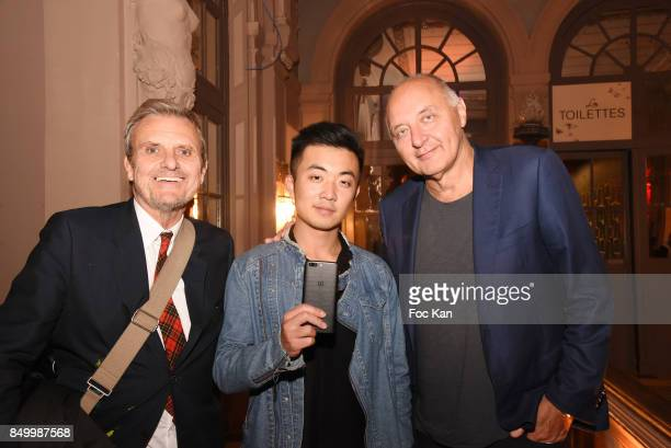 Jean Charles de Castelbajac OnePlus co founder Carl Pei and Federation Francaise de La Couture President Pascal Morand attend 'Callection' By Jean...