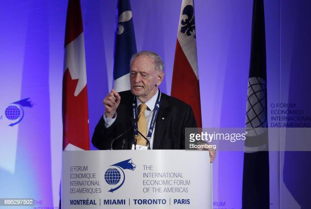 Jean Chretien former Canadian prime minister speaks during the International Economic Forum Of The Americas in Montreal Quebec Canada on Monday June...