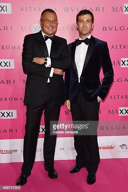 Jean Christophe Babin and Carlo Mazzoni attend the Bulgari Gala Dinner Photocall at Maxxi Museum on November 29 2014 in Rome Italy