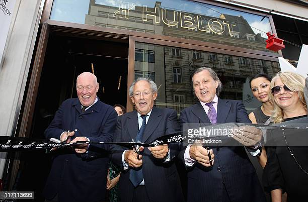Jean Claude Biver Marcus Margulies and Ilie Nastase open the new Hublot store on New Bond Street on June 22 2011 in London England At the opening...