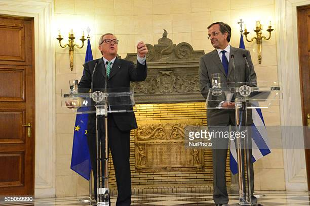 Jean Claude Juncker and PM Antonis Samaras talking to the media in Athens Greece on August 4 2014