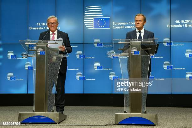 Jean Claude Juncker President of the European Commission and Donald Tusk President of the European Council give a joint press conference ahead of the...