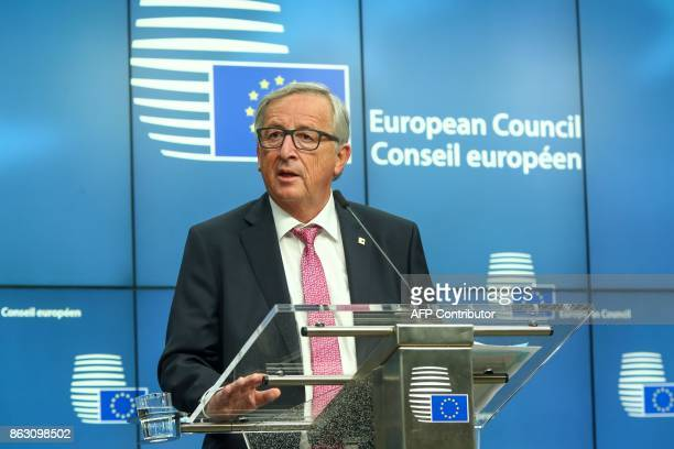 Jean Claude Juncker President of the European Commission gives a joint press conference with President of the European Council give a joint press...
