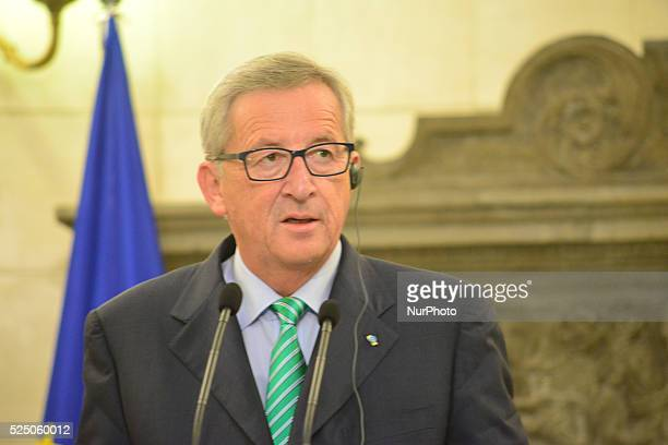 Jean Claude Juncker talking to the media in Athens Greece on August 4 2014
