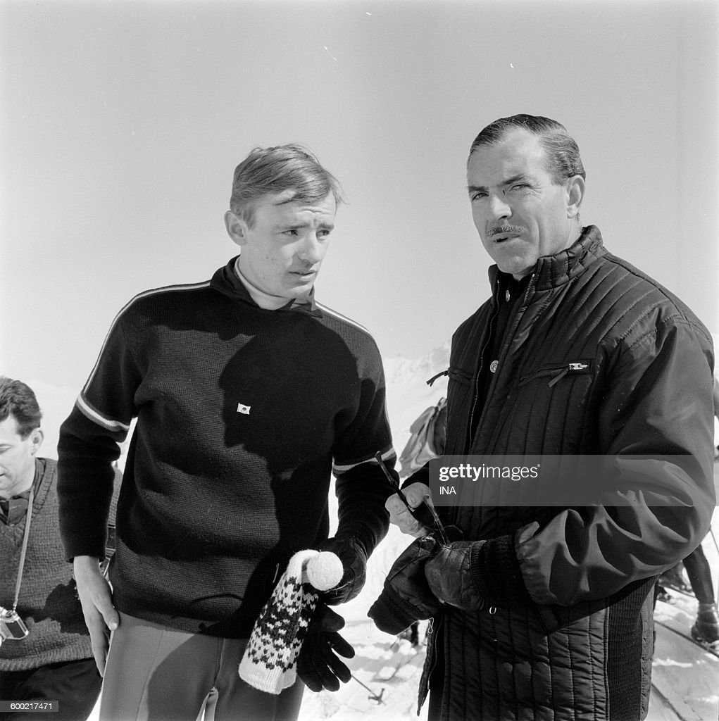 Jean Claude Killy beside <a gi-track='captionPersonalityLinkClicked' href=/galleries/search?phrase=Maurice+Herzog&family=editorial&specificpeople=1140703 ng-click='$event.stopPropagation()'>Maurice Herzog</a> in Méribel.
