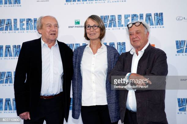 Jean Claude Mezieres Francoise Nyssen and Pierre Christin attend 'Valerian et la Cite des Mille Planetes' Paris premiere at La Cite Du Cinema on July...