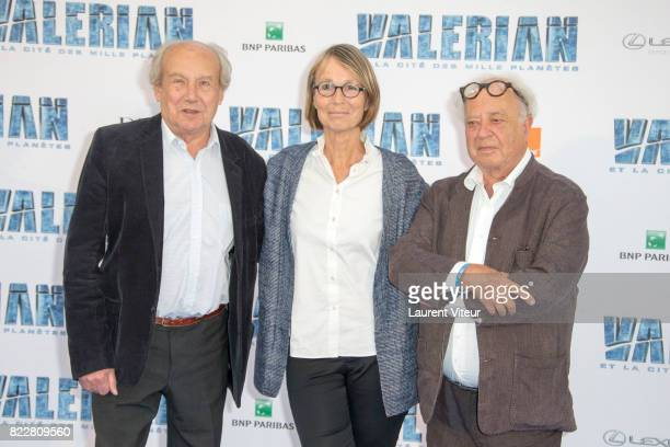 Jean Claude Mezieres Francoise Nyssen and Pierre Christin attend 'Valerian et la Cite desMille Planetes' Paris Premiere at La Cite Du Cinema on July...