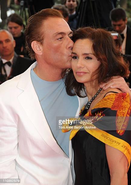 Jean Claude van Damme with his wife Gladys Portugues attends the 'Un Conte de Noel' premiere at the Palais des Festivals during the 61st Cannes...