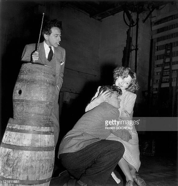 Jean Cocteau Jean Marais And Edwige Feuillere During Rehearsal For 'L'Aigle a Deux Têtes' In Paris 1946