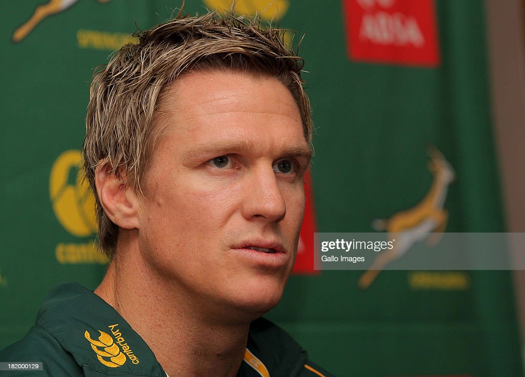 <a gi-track='captionPersonalityLinkClicked' href=/galleries/search?phrase=Jean+de+Villiers&family=editorial&specificpeople=2285701 ng-click='$event.stopPropagation()'>Jean de Villiers</a> attends the South African National rugby team press conference at the Southern Sun Cullinan Hotel on September 27, 2013 in Cape Town, South Africa.