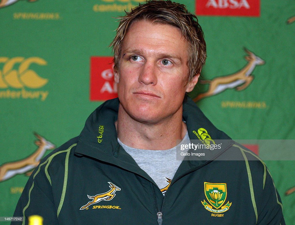 Jean de Villiers during the South African national rugby team press conference at Kashmir Restaurant on June 04, 2012 in Durban, South Africa.
