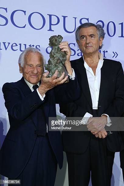 Jean D'Ormesson and Bernard Henri Levy attend the 'Scopus Awards' 2013 at Espace Cambon Capucines on April 10 2013 in Paris France
