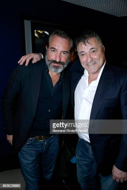 Jean Dujardin and JeanMarie Bigard attend the 'Chacun sa vie' Paris Premiere at Cinema UGC Normandie on March 13 2017 in Paris France