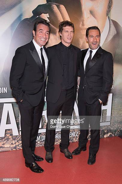 Jean Dujardin Cedric Jimenez and Gilles Lellouche attend the 'La French' Paris premiere at Cinema Gaumont Capucine on November 25 2014 in Paris France