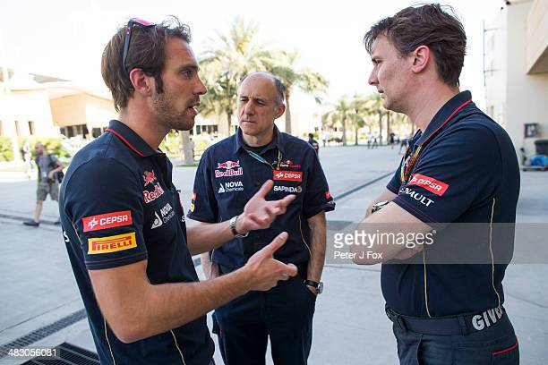 Jean Eric Vergne of France and Toro Rosso chats with Franz Tost of Austria Team Principal of Toro Rosso and James Key of Great Britain Technical...