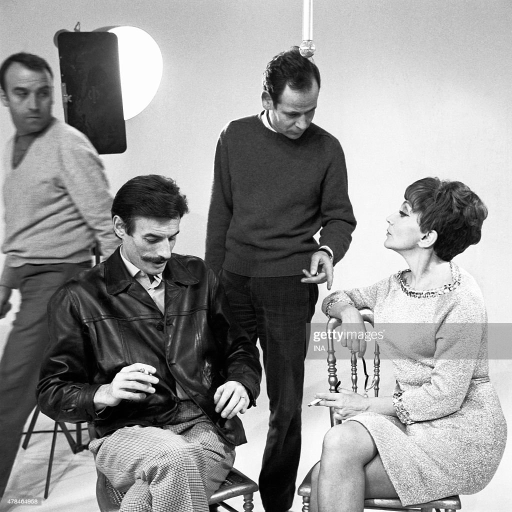 Jean Ferrt, the director Jacques Audoir and Denise Glaser during the recording of ''Discorama''