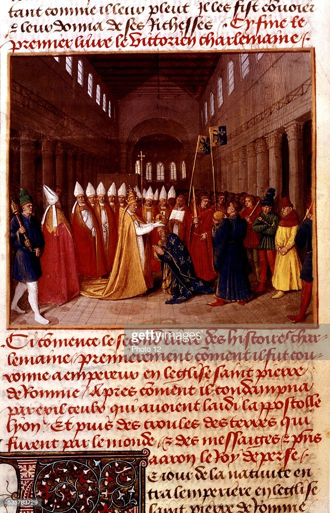 Jean Fouquet, Chronicles of St. Denis, Coronation of <a gi-track='captionPersonalityLinkClicked' href=/galleries/search?phrase=Charlemagne&family=editorial&specificpeople=79057 ng-click='$event.stopPropagation()'>Charlemagne</a> on Christmas Day, year 800, at St. Peter's basilica in Rome, Italy, 15th century, France.