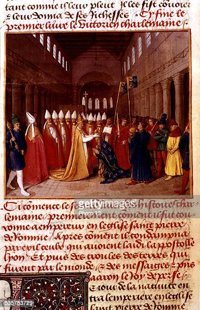 Jean Fouquet Chronicles of St Denis Coronation of Charlemagne on Christmas Day year 800 at St Peter's basilica in Rome Italy 15th century France