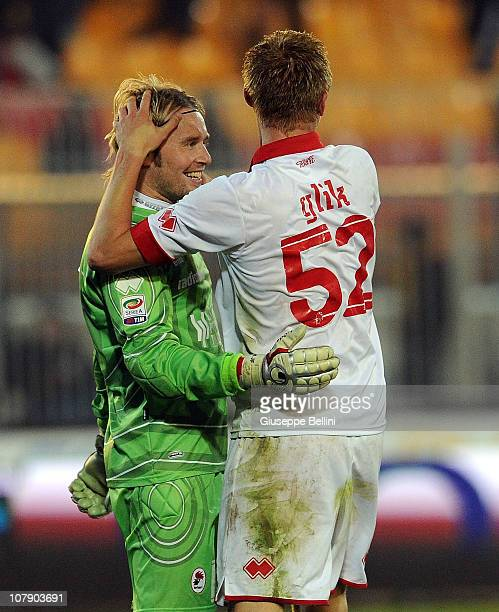Jean Francois Gillet and Kamil Glik of Bari celebrate the victory after the Serie A match between Lecce and Bari at Stadio Via del Mare on January 6...