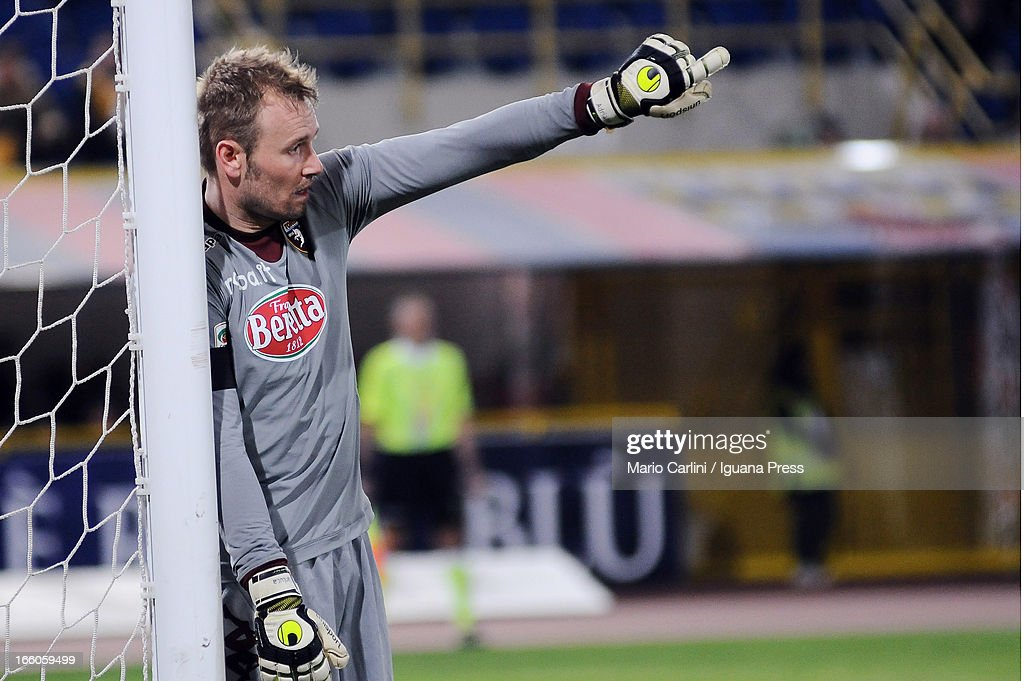 Jean Francois Gillet, goalkeeper of Torino FC gestures during the Serie A match between Bologna FC and Torino FC at Stadio Renato Dall'Ara on April 6, 2013 in Bologna, Italy.