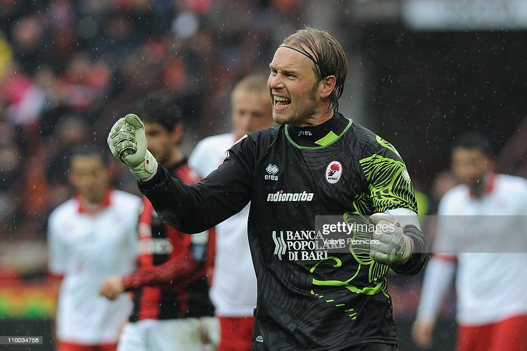 Jean Francois Gillet of AS Bari reacts during the Serie A match between AC Milan and AS Bari at Stadio Giuseppe Meazza on March 13, 2011 in Milan, Italy.