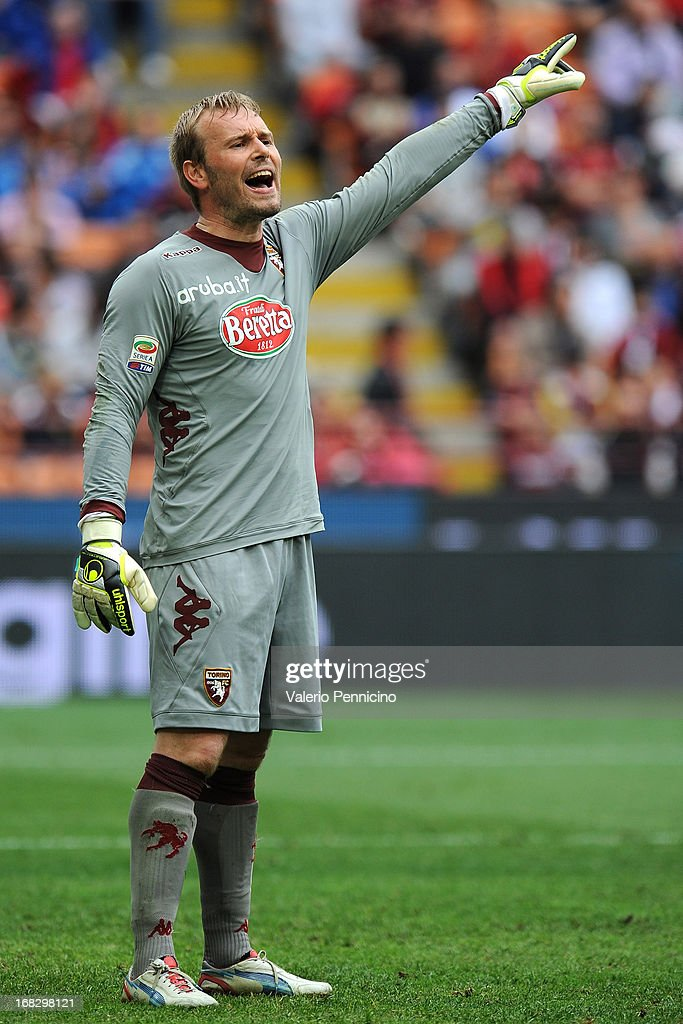 Jean Francois Gillet of Torino FC issues instructions during the Serie A match between AC Milan and Torino FC at San Siro Stadium on May 5, 2013 in Milan, Italy.