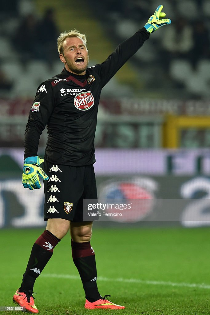 Jean Francois Gillet of Torino FC issues instructions during the Serie A match between Torino FC and Parma FC at Stadio Olimpico di Torino on October 29, 2014 in Turin, Italy.