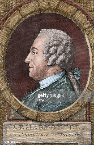 Jean Francois Marmontel French writer and historian Colored engraving 18th century