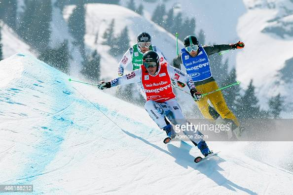 Jean Frederic Chapuis of France wins the overall globe for the FIS Freestyle Skiing World Cup Ski Cross Paul Eckert of Germany takes 3rd place on...